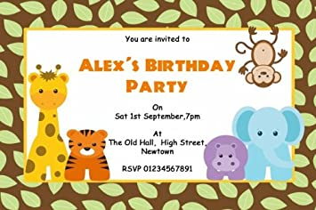 10 X Personalised Animal Jungle Theme Birthday Party Invitations Amazoncouk Office Products