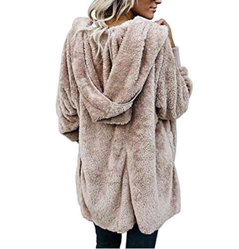 ASSKDAN Women s Fuzzy Velvet Open Front Loose Fitting Jacket Coat with  Hood. OUR WINGS Women Winter Warm Outwear Fleece Sherpa Jacket ... fcdcf8be5