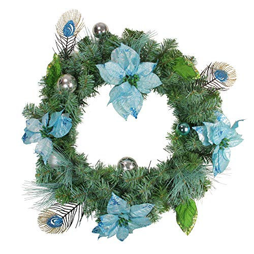 Northlight Pre-Decorated Peacock Balls and Poinsettias Artificial Christmas Wreath -Unlit, 24