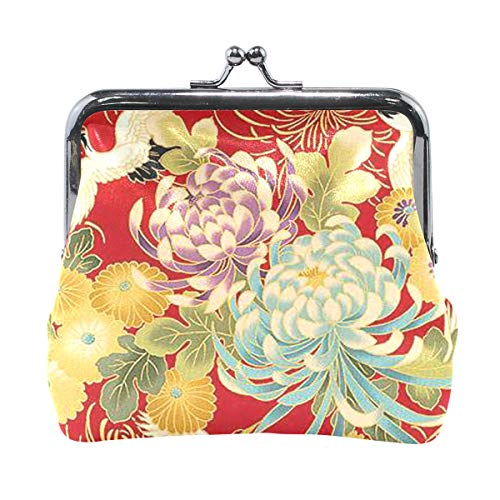 Bag Shoulder Leather Beaded (Coin Purse Japanese Print Spring Bird Flowers On Mono Womens Wallet Clutch Bag Girls Small Purse)