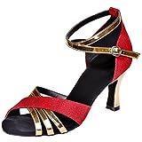 Loslandifen Women's Peep Toe Dance Shoes Gauze Criss Cross Strap Salsa Tango Latin Sandals(8349-13Gauze38,Red)