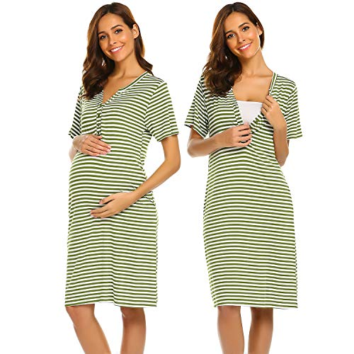 (Ekouaer Maternity Nursing Nightgown Nightdress Hospital Bag Must Have, Pregnancy Breastfeeding Baby Shower Gift (Army Green M))