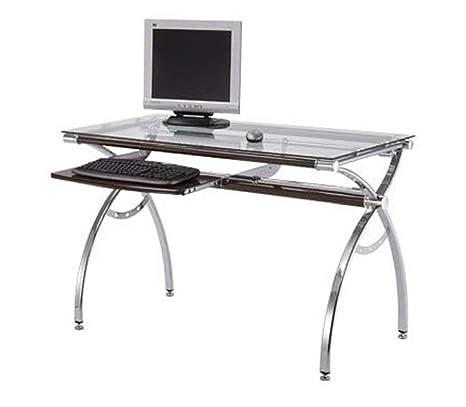 Scrivania Pc In Vetro.Multiko Sussex 39c Scrivania Per Computer In Vetro Temprato