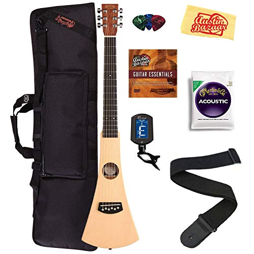Martin Steel String Backpacker Travel Guitar Bundle with Gig Bag, Strap, Strings, Tuner, Picks, Austin Bazaar Instructional DVD, and Polishing Cloth