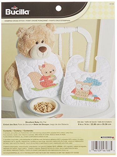 Bucilla Teddy Bear (Bucilla Stamped Cross Stitch Bib Pair Kit, 9 by 14-Inch, 46188 Woodland)
