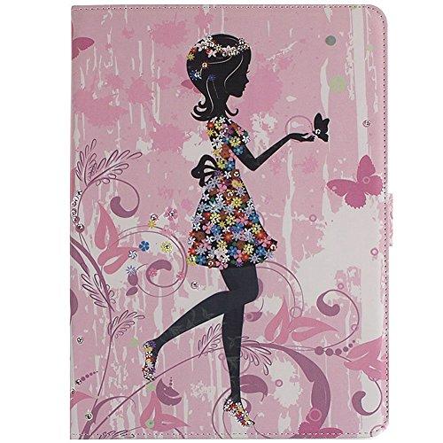 MACOOL Cubierta del iPad caja de la flor de la mariposa de hadas Aire incrustaciones Chica del brillo del diamante de Bling diamantes de imitación estilo libro animado protector de cierre magnético PU 06HUA