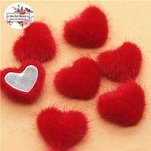 - Maslin 50pcs 16mm Flatback Hairy Fabric Covered Heart Buttons Home Garden Crafts Cabochon Scrapbooking DIY 16mm - (Color: red 50pcs)