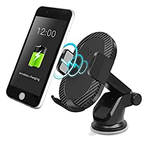 Wireless Car Charger, Amyhomie Fast Wireless Charger Car Mount with 2 in 1 Function Air Vent Holder for Samsung Galaxy Note 8/S7/S7 Edge/S6 Edge,iPhone 8/8 Plus/X and Other Qi-enabled Devices