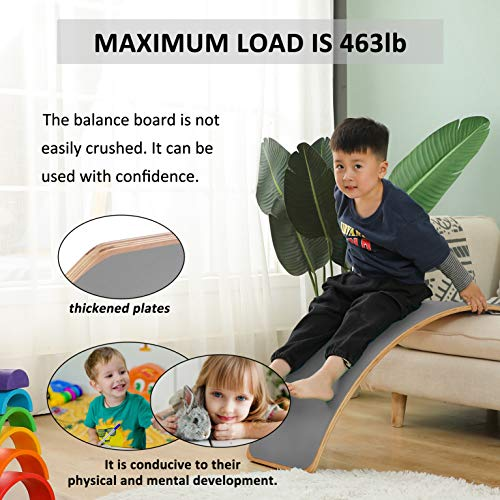 Wooden Balance Board Toddler Toys for Body Training Curvy Rocker Board Board Game Exercise and Physical Therapy Wobble Board (Gray)