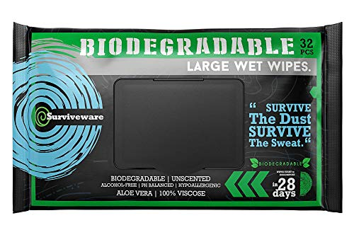 Surviveware Biodegradable Wet Wipes Large Pack – Rinse Free Shower Wipes for Post Workouts, Camping, Backpacking, Outdoors and Hiking