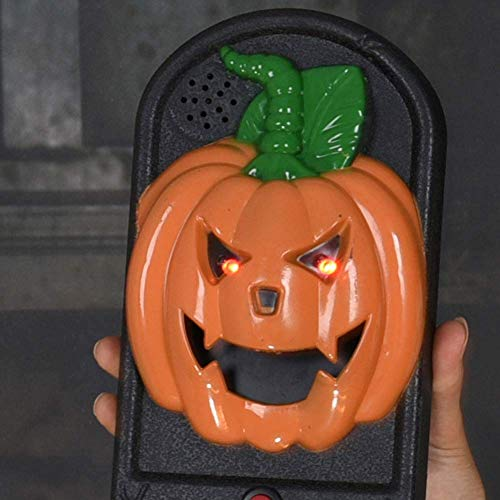 LINGJUN Halloween Doorbell Haunted House Eye Glow Horror Tricky Props Pumpkin for Party Decoration for $<!--$17.55-->