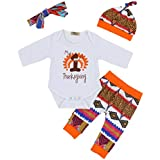 Zefeng 4Pcs Baby Boys Girls Thanksgiving Outfit Long Sleeve Bodysuit Pants with Hat and Headband