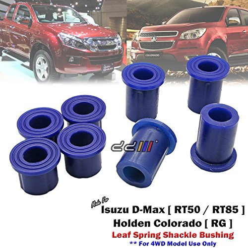 8pcs Poly Rear Spring Shackle Bushing For Isuzu D-Max Dmax RC 4x4 4WD 2012-ON ()