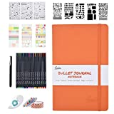 Bullet Dotted Journal Kit,Feela A5 Dotted Bullet Grid Journal Set with a 192 Pages Notebook,Fineliner Pens,Reusable Stencils,Sticker Sheet,Washi&Glue Tape,Black BallPen for Diary,Schedule Plan,Draw