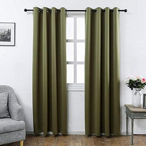 MANGATA CASA Blackout Curtains 2 Panels with Grommets for Bedroom,Darking Window Curtains for Living Room, (Olive 52x96inch ()