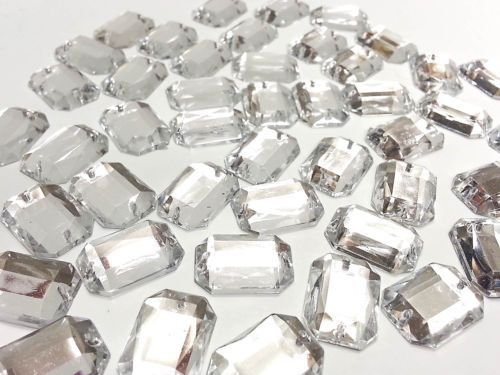 (CraftbuddyUS 50 13*18mm SEW on Faceted Clear Rectangle Acryl Diamante Rhinestone Crystal Gems)