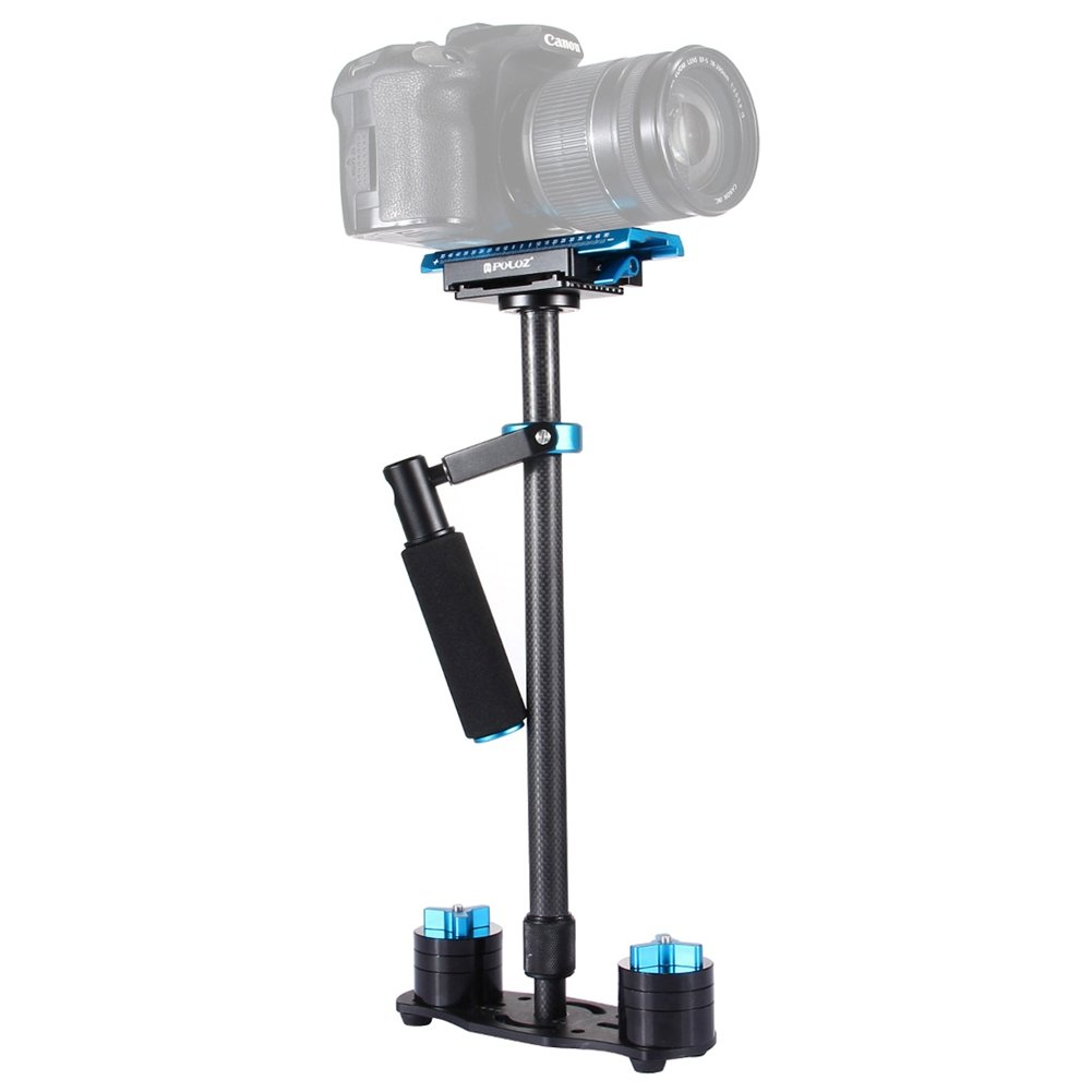 ADJUSTABLE SCALABLE CARBON FIBER HANDHELD CAMERA STABILIZER BLACK FOR CANON (Blue)