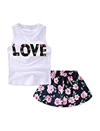 Mud Kingdom Girls Outfits Summer Holiday Floral Tank Tops and Skirts Clothes Sets Chiffon 6