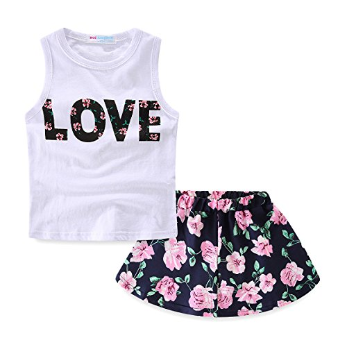 Mud Kingdom Girls Outfits Summer Holiday Floral Tank Tops and Skirts Clothes Sets Chiffon 2T White]()
