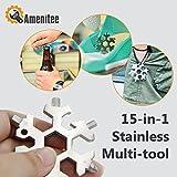 Amenitee 18 In 1 Incredible Tool – Easy N Genius - FEX 18-in-1 Stainless Steel Snowflakes Multi-Tool - 15-in-1 Stainless Multi-tool (Silver)
