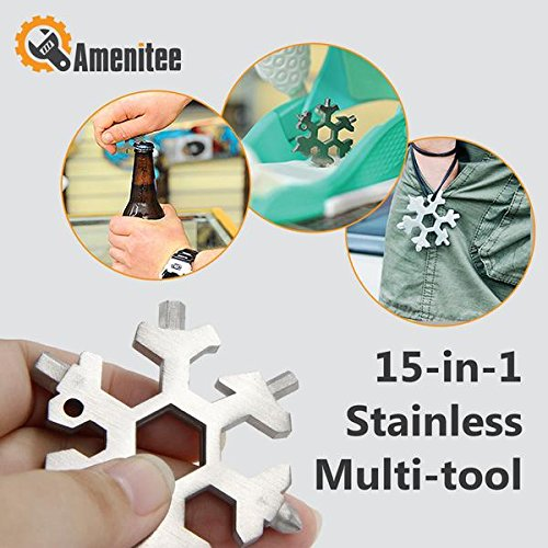 Amenitee Handy 15-in-1 Stainless Multi-tool - Snowboarding Multi-tool- Standard, Stainless Steel