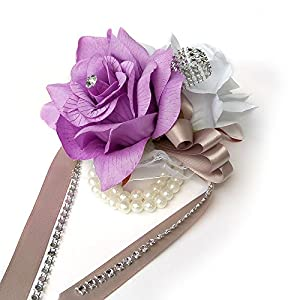 Open rose Wrist corsages with pearl wristband for wedding,prom,dance,homecoming. Atificial flower (White/Lilac Lavender) 94