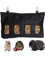 Hay Feeder Bag 18x12x2 Inch Rabbit Guinea Pig Bunny Piggies Hay Feeder Hanging Sack Feeder Pet Bed Toys Hay Holder Washable (Large)