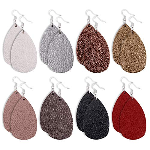 JAROLX 8 Pairs Leather Earrings Lightweight Faux Leather Leaf Earrings Teardrop Dangle for Women Girls