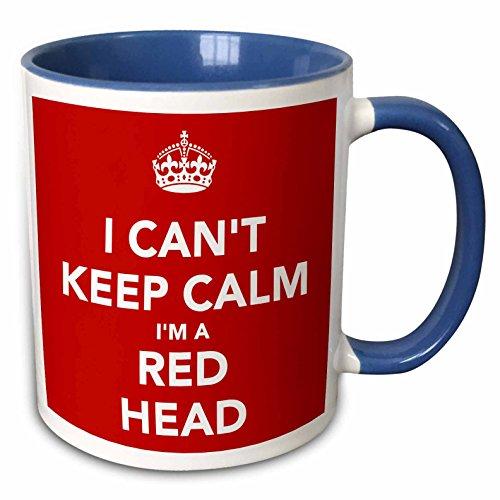 3dRose EvaDane - Quotes - I Cant Keep Calm Im A Red Head Red - 11oz Two-Tone Blue Mug (mug_222843_6)