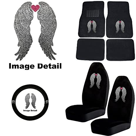 Heavenly Angel Wings W Pink Heart Gem Crystal Studded Rhinestone Bling Car Truck SUV Floor