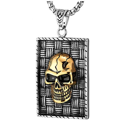 COOLSTEELANDBEYOND Two-Layer Mens Vintage Steel Skull Braided Pattern Rectangle Dog Tag Pendant Necklace, Silver Gold