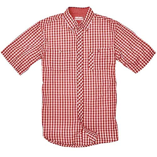 Backpacker Apparel Men's Short Sleeve Lazy Days Gingham Check Shirt, Red, 3X-Large Tall ()