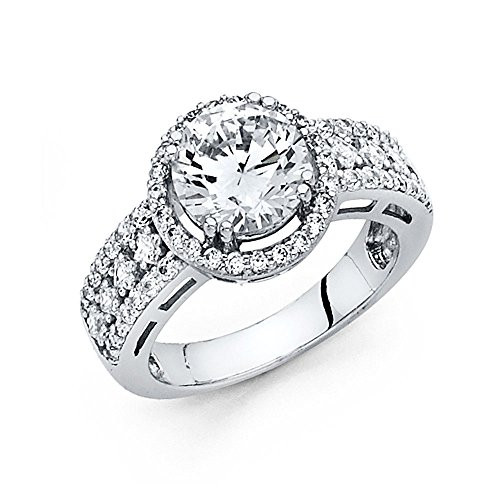 14K White Gold Round-cut 3.25 CTW Equivalent CZ Cubic Zirconia Ladies Solitaire Wedding Engagement Ring Band – Size 6