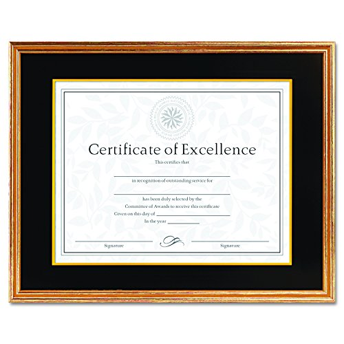 DAX Hardwood Document/Certificate Frame with Mat, 11 x 14 Inches, Antiqued Gold Leaf (1511T) ()
