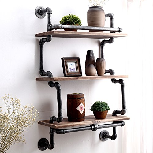 Warm Van Unique Style 24 Inch Industrial Retro Iron Pipe&Wood Wall Mount Shelves,Wine Racks,Storage Bookshelf,Home DIY Wall Decor Shelf 3 -