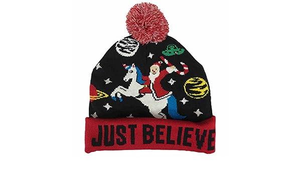 9db118ba814e5 Amazon.com  Mens Light Up Just Believe Christmas Beanie Santa Unicorn    Space Holiday Hat Blue  Clothing