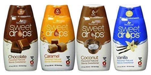 Price comparison product image SweetLeaf Sweet Drops Flavored Stevia Sweetener 4 Flavor Variety Bundle,  1 Ea: Chocolate,  Caramel,  Coconut,  Vanilla