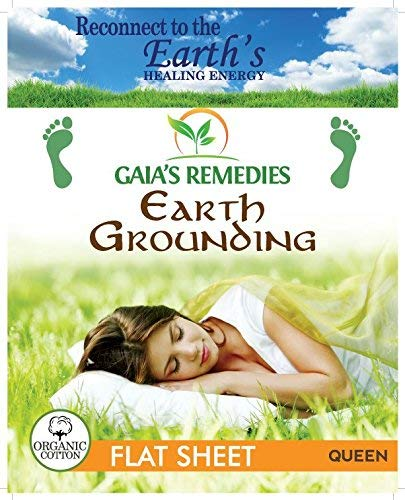Gaia's Remedies Earthing Grounding Queen Size Flat Sheet - 95% Organic Cotton, 5% Silver Thread for EMF Protection, Antioxidants, Ion Exchange, Inflammation, Better Sleep, Reduced Pain.