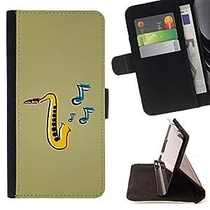 - ART PAINTING JAZZ INSTRUMENT SAXOPHONE MUSIC - - Prima caja de la PU billetera de cuero con ranuras para tarjetas, efectivo desmontable correa para l Funny HouseFOR Apple Iphone 6