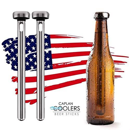 Caplan Coolers: Stainless Steel Beer Bottle Chiller Cooling Sticks (Set of 2) (Beer Set Chillsner Cooler)