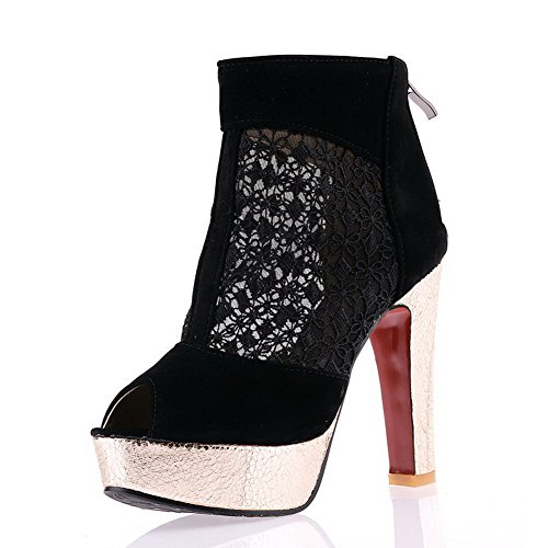 Zipper Solid WeenFashion High Women's Black Heels Peep Frosted Toe Sandals xq0fwOqg