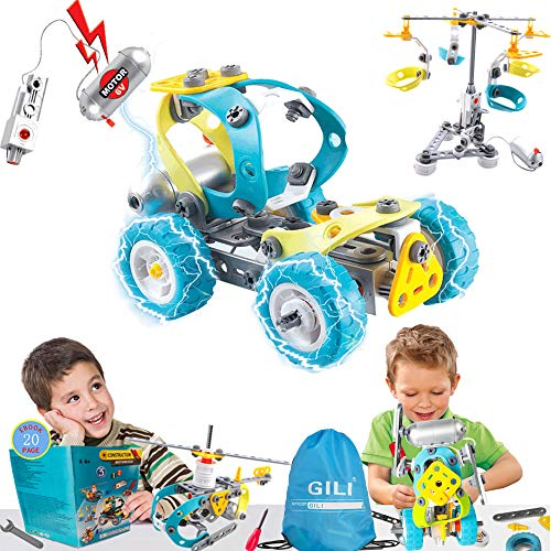 Gili Engineering STEM Building Sets for Age 6-10 (Best Toys Gifts for Kids), Construction Motorized Building Sets for 7, 8, and 9 Year Old Boys & Girls, Educational Robotic -