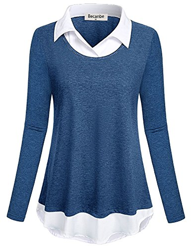 Becanbe Semi Formal Tops for Women, Lady Business Casual Shirts Polo CollaBlue Patchwork Sophisticated Outfits Delicate Enthusiastic Special Meeting Wear Blouse(Blue,XX-Large) by Becanbe