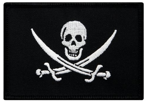 Embroidered Pirate - Jolly Roger Calico Jack Flag Embroidered Patch Black White Pirate Skull Iron-On