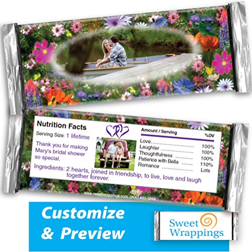 Personalized Candy Bar Wrappers | Flower Fields | Wedding, Engagement, Birthday, Party Favor - add Your Photo, Personalized, Custom | (36 Wrapper Kit) - Fits Hershey's 1.55oz Chocolate Candy