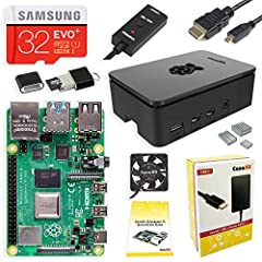 Kit Includes - Raspberry Pi 4 4GB Model B with 1.5GHz 64-bit quad-core ARMv8 CPU (4GB RAM) - 32GB Samsung EVO+ Micro SD Card (Class 10) Pre-loaded with NOOBS - CanaKit Premium High-Gloss Raspberry Pi 4 Case with Integrated Fan Mount - CanaKit...