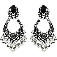 Women's Earrings Studs,Lavany Indian Bollywood Style Gold Plated Wedding Wear Traditional Polki Earrings Jewelry for Women (Silver)