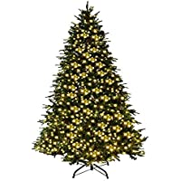 6Ft Pre-Lit Artificial Christmas tree Premium Spruce Hinged tree w/ 540 LED Lights & Pine Cones Green Pointy Christmas tree Small Xmas tree Home Ornaments Decorations Christmas tree