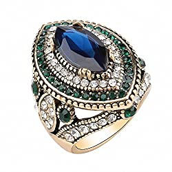 Vintage Green Crystal Rings for Women