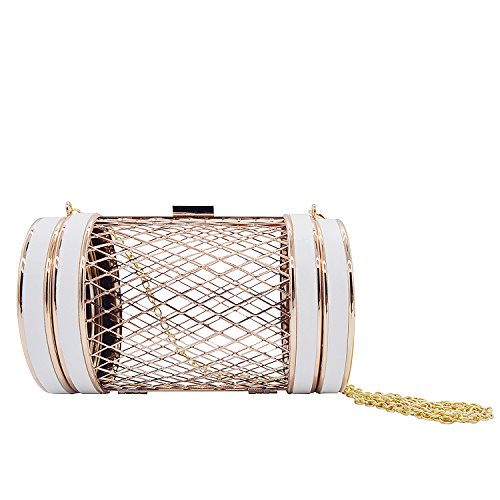 Miuco Women Chain Crossbody Bags Metal Hollow Out Clutch Cylinder Handbags White